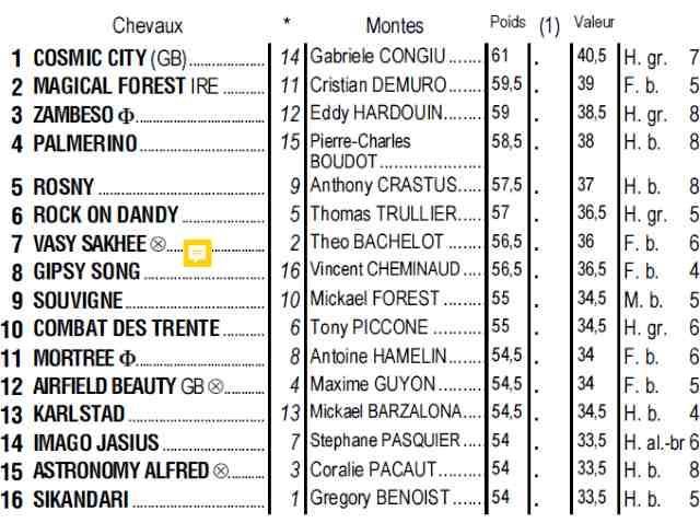 Partants du quinté + de dimanche 14 avril 2019 à Longchamp