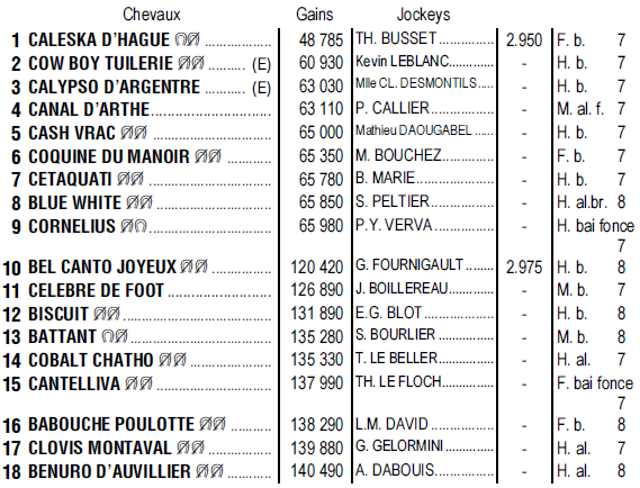 Partants du quinté + de lundi 17 juin 2019 à Vichy