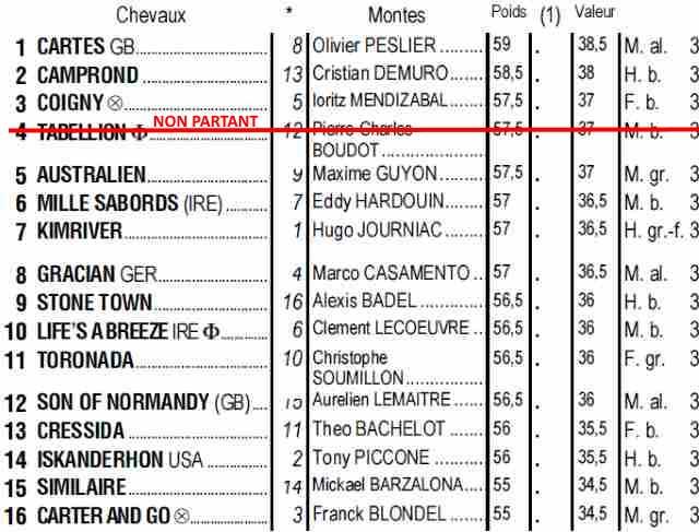 Partants du quinté + de jeudi 23 mai 2019 à Longchamp